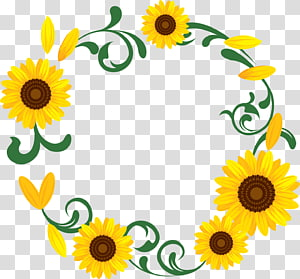 Sunflower Wreath transparent background PNG cliparts free.