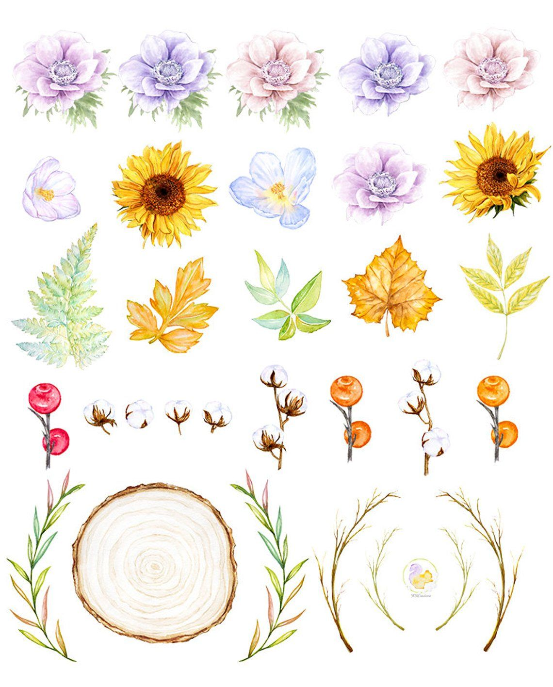 Forest Flower Clipart, Sunflower Wreath, Wedding Floral.