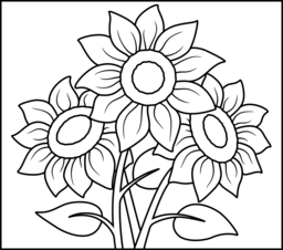 Sunflower Coloring Page. Printables. Apps for Kids..