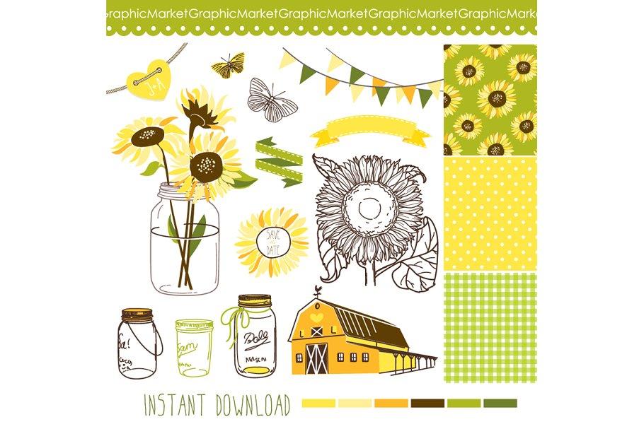 Sunflowers Mason Jars digital papers.