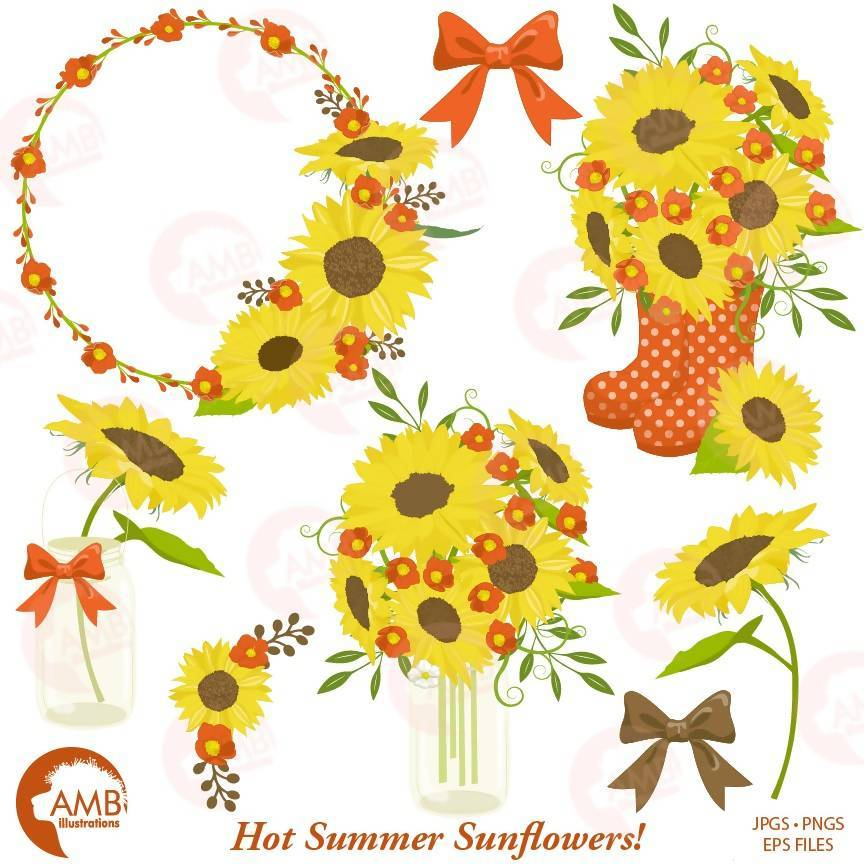 Sunflower clipart, Wedding clipart, sunflowers, country wedding, mason jar,  AMB.