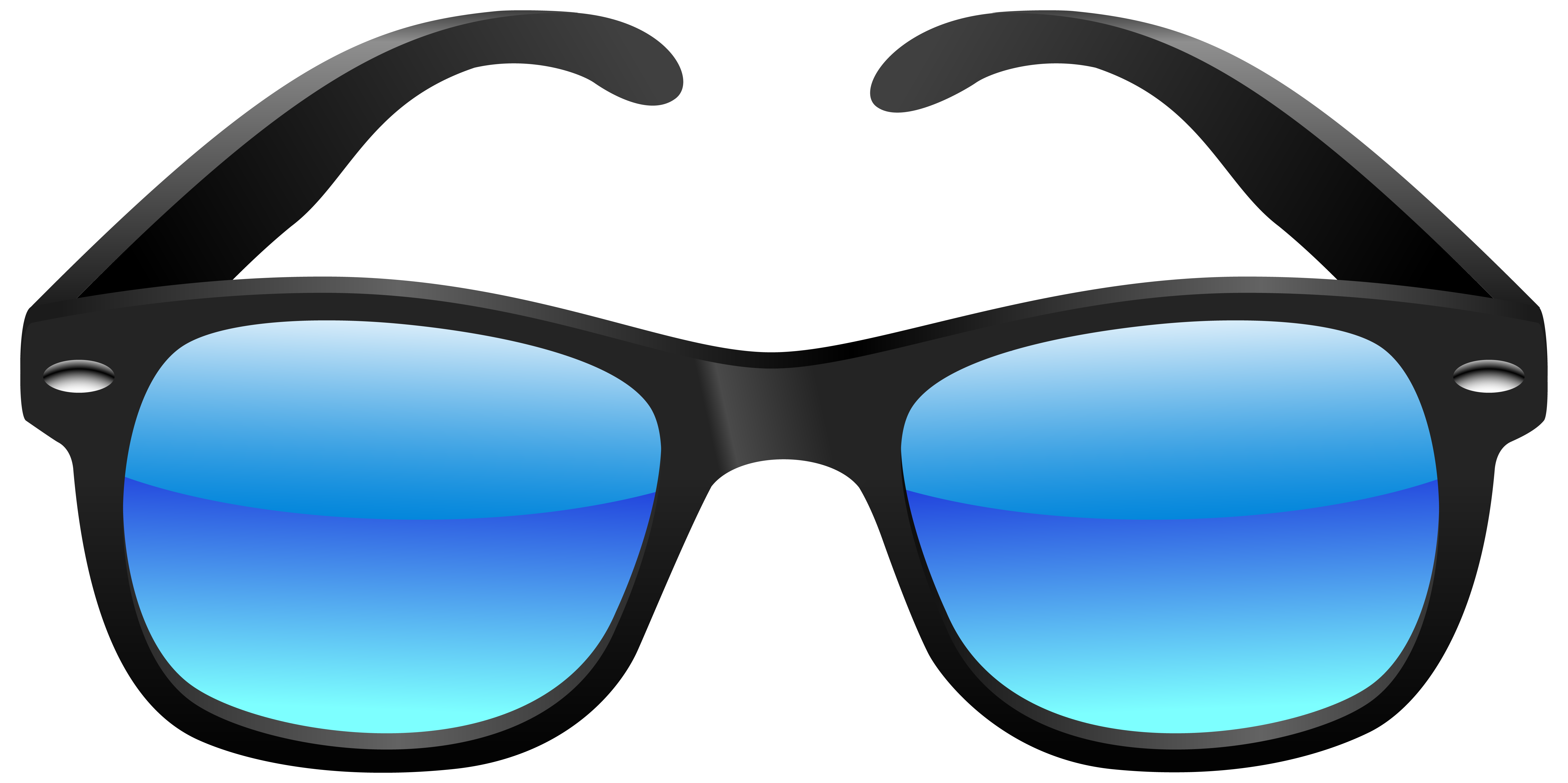 Black and Blue Sunglasses PNG Clipart Image.