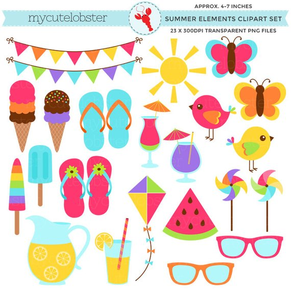 Summer Elements Clipart Set.
