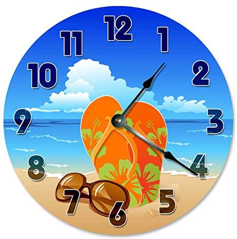 Sugar Vine Art Sandals Sunglasses Clock Decorative Round Wall Clock Home  Decor Large 10.5\