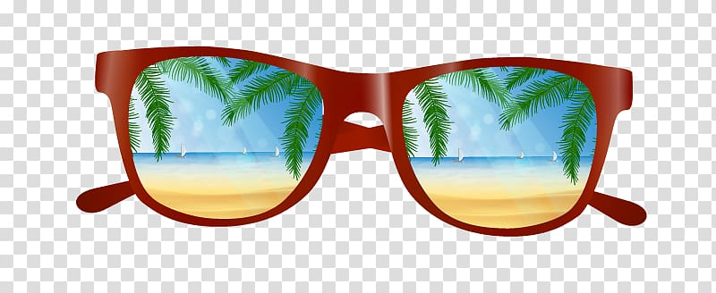 Red framed sunglasses , Beach Computer file, Sunglasses.