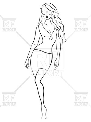 Outline of sexy woman in sunglasses Vector Image #60705.