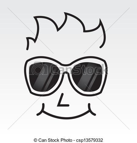 Vectors of Sunglasses Face Outline.