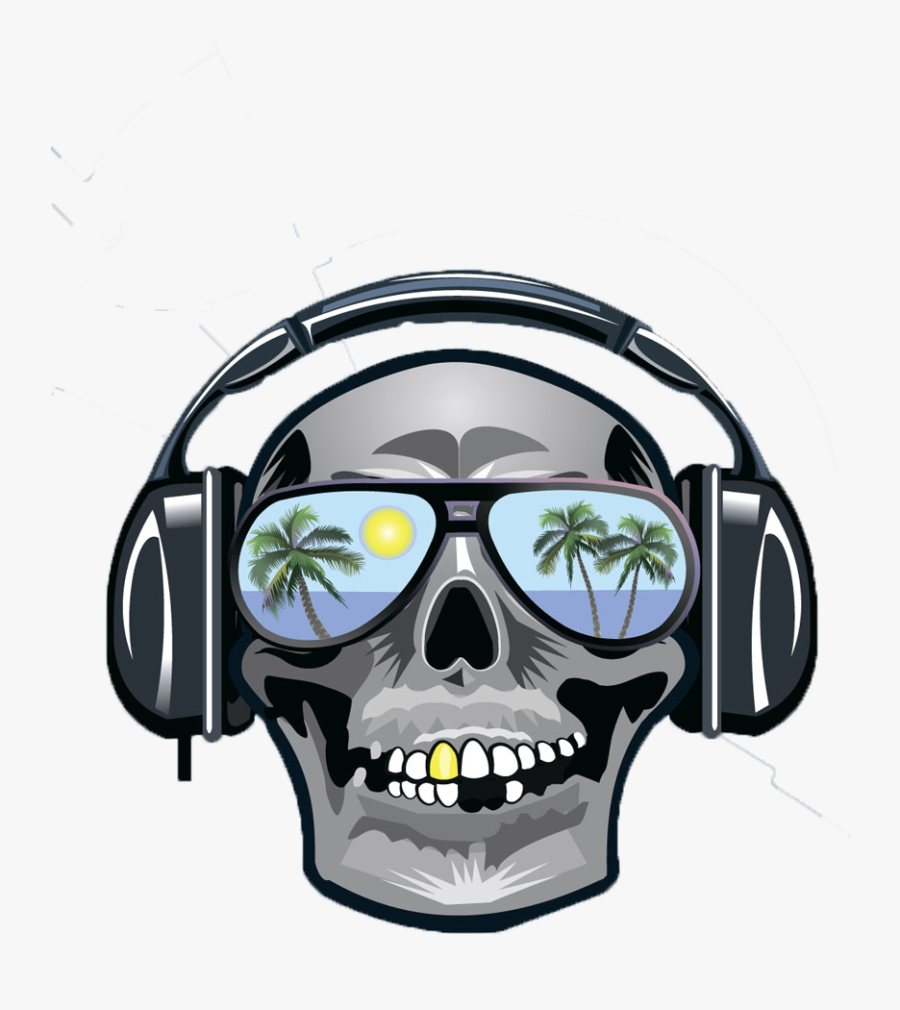 Clip Art Skull Wearing Headphones.