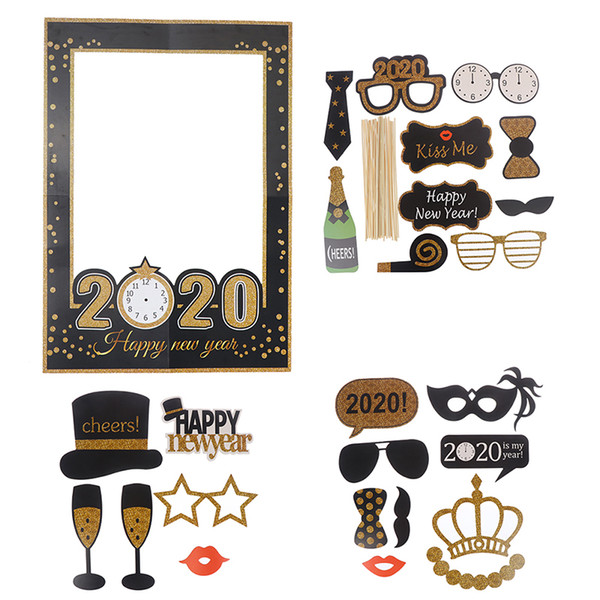 2019 Happy New Year Photo Photo Booth 2020 New Year Paper Photo Props Funny  Glasses Moustache New Year Eve Party Photobooth From Busyshiping, $8.75.
