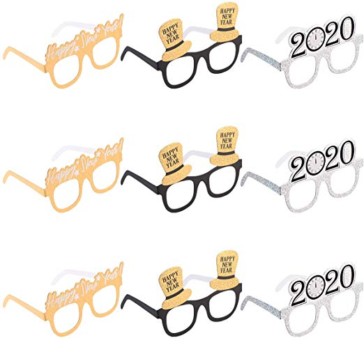 Amosfun Happy New Year Eyeglasses Fancy New Year Party Glasses Celebration  Party Favor for 2020 New Year\'s Eve Party Decors, Pack of 9.