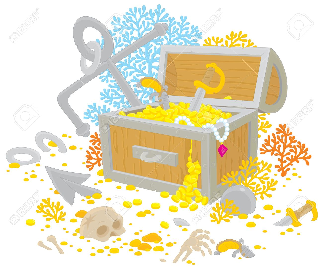 Treasure Chest Of A Sunken Pirate Ship Royalty Free Cliparts.