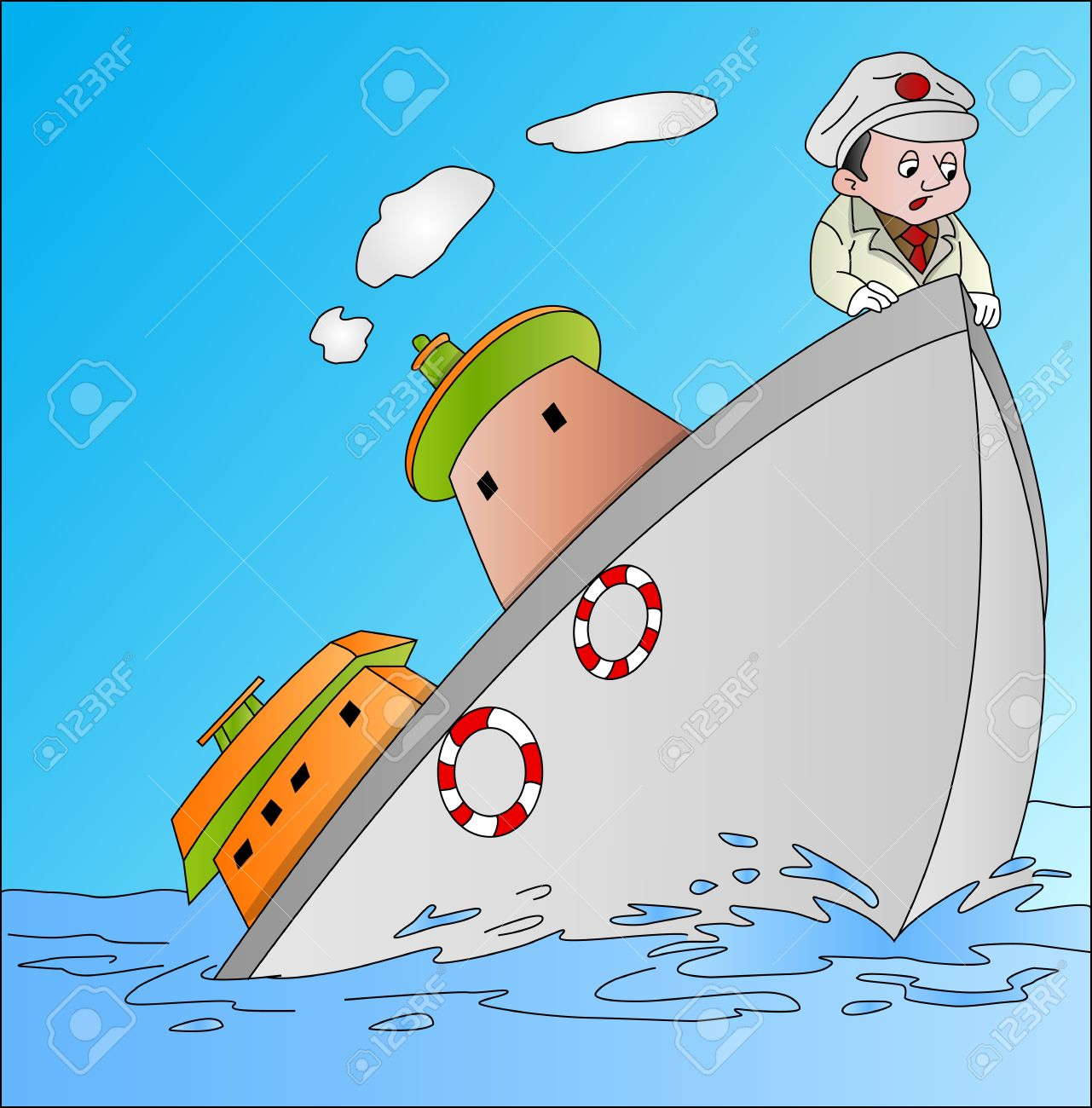 Ship Sinking With Captain, Vector Illustration Royalty Free.