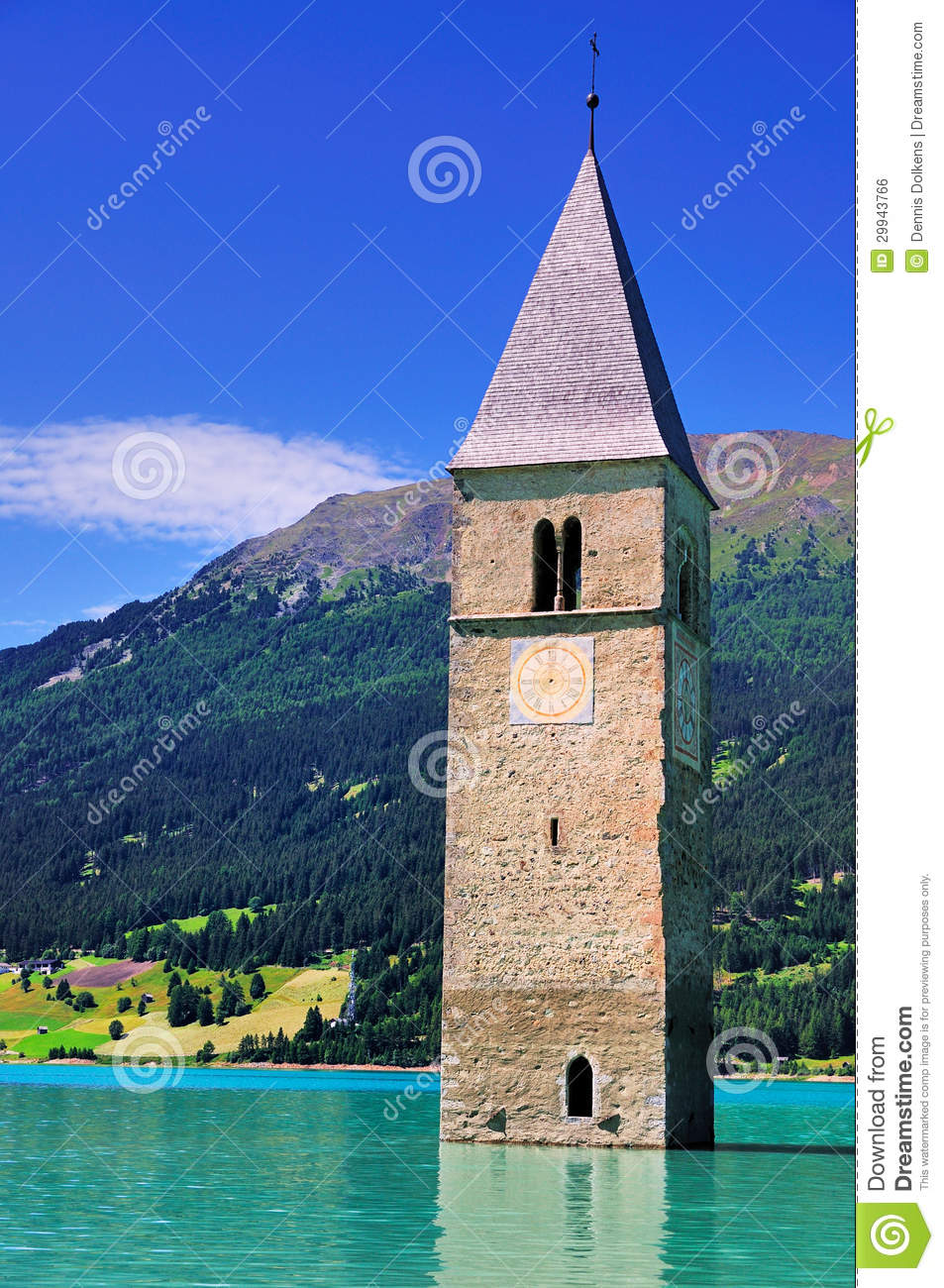 Submerged Church Tower,Reschensee, Italy Royalty Free Stock Image.