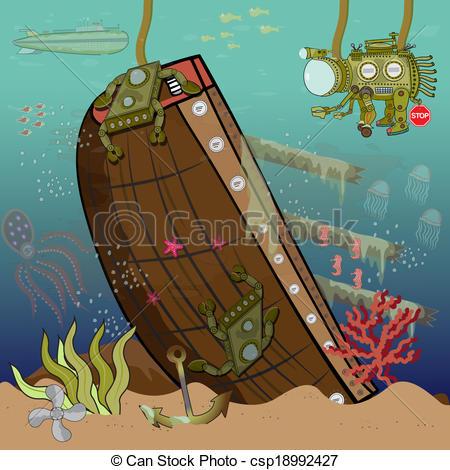 Sunken ship clipart.