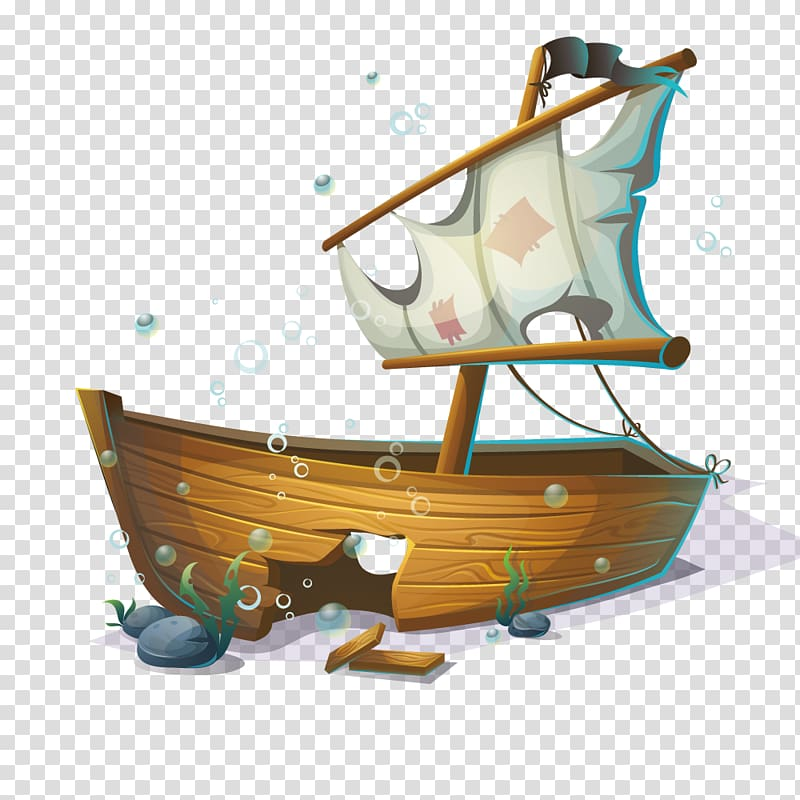Sunken boat illustration, Sailing ship Boat, Submarine.