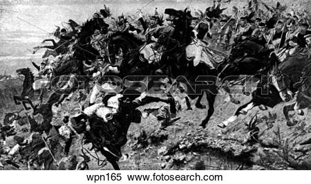 Stock Illustration of The Sunken Road at the Battle of Waterloo.
