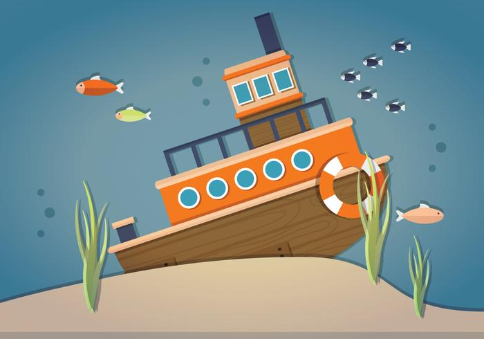 Sunken Ship Vector.