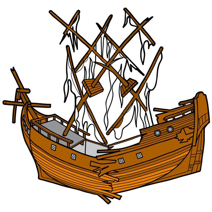 Sunken Ship Drawing.