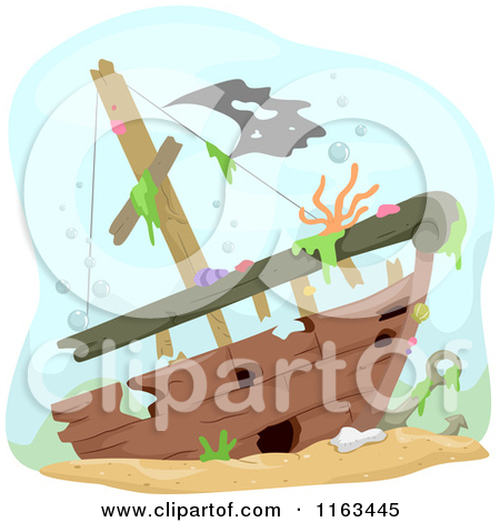 Clipart of a Treasure Chest and Pirate Hat by a Sunken Ship.