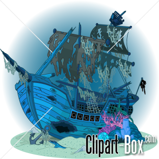 CLIPART SUNKEN PIRATE SHIP.
