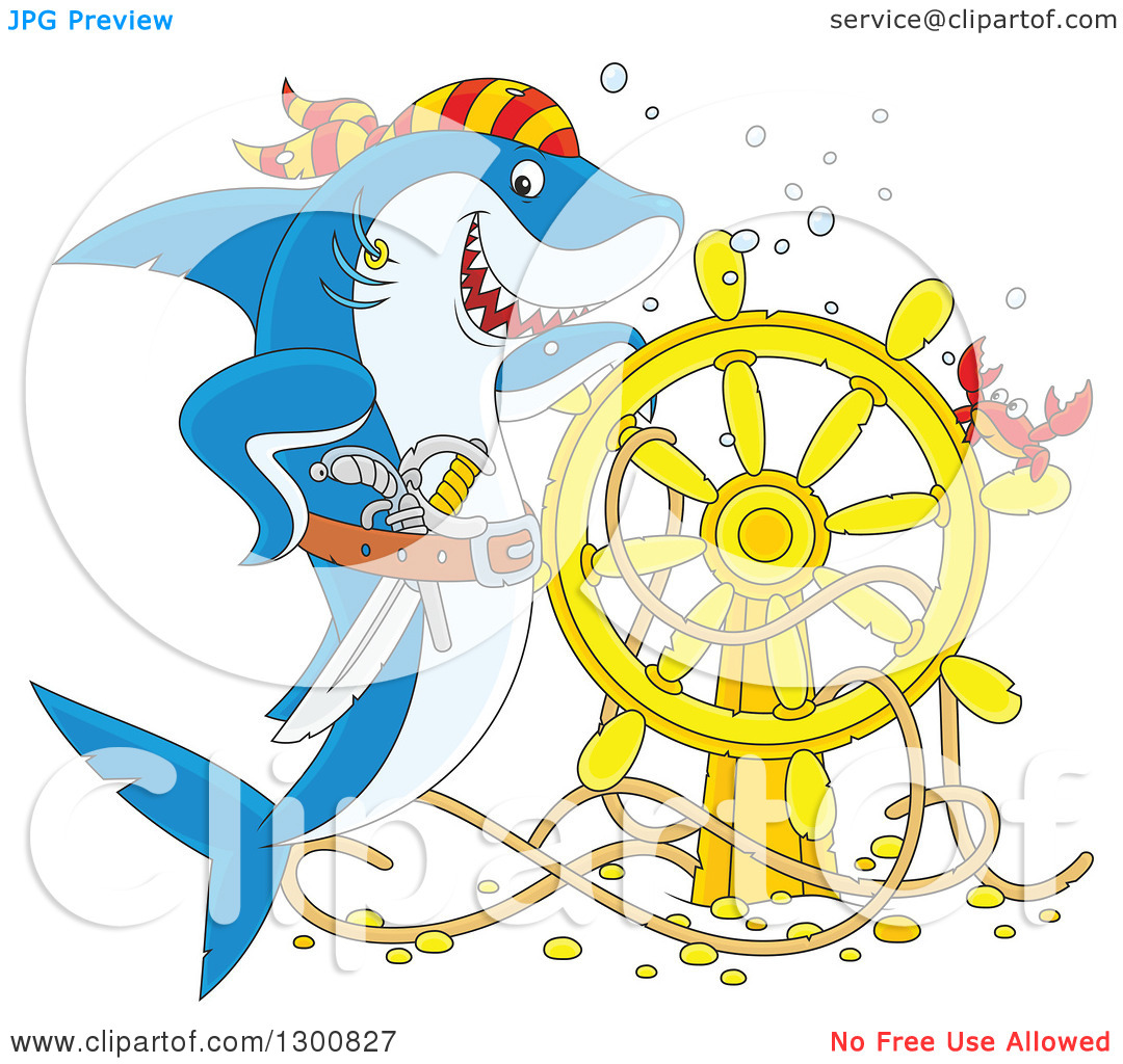 Clipart of a Cartoon Blue and White Shark Pirate Posing with a.