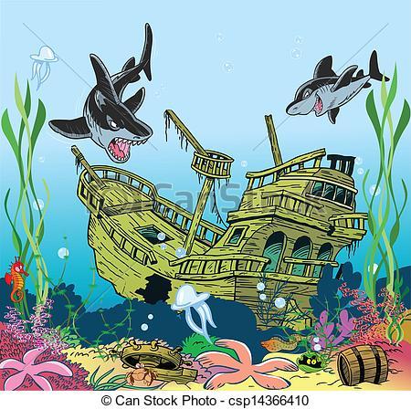 Vector Clip Art of underwater sea life.