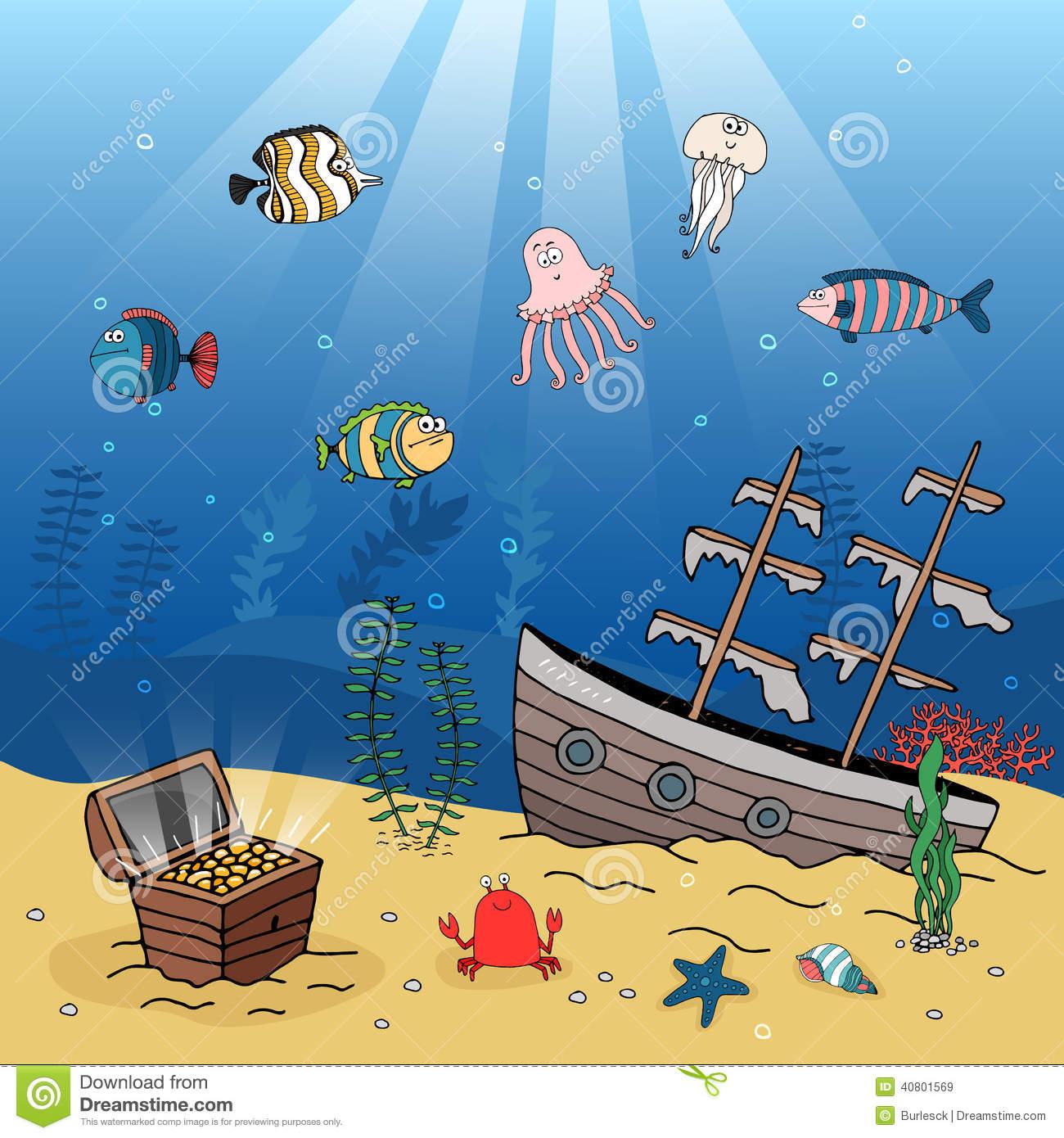 Sunken Ship Stock Illustrations.