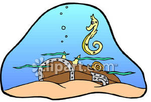 Seahorse By Sunken Treasure Chest.