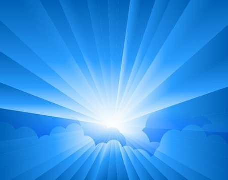 Sun Burst with Rays form Clouds Clipart Picture.