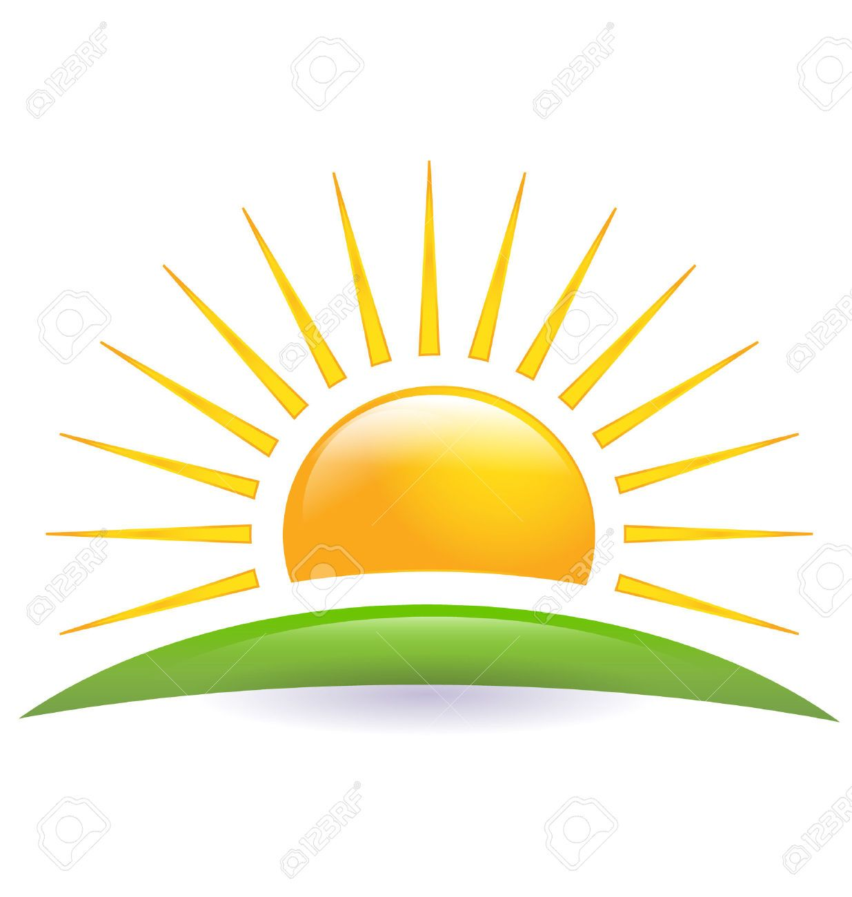 Green hill with sun rays clipart.