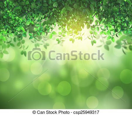 Clipart of 3D leaves and sunlight.