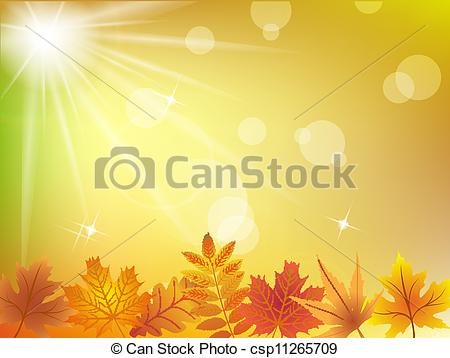 Vector Clipart of Autumn leaves in sunlight background csp11265709.