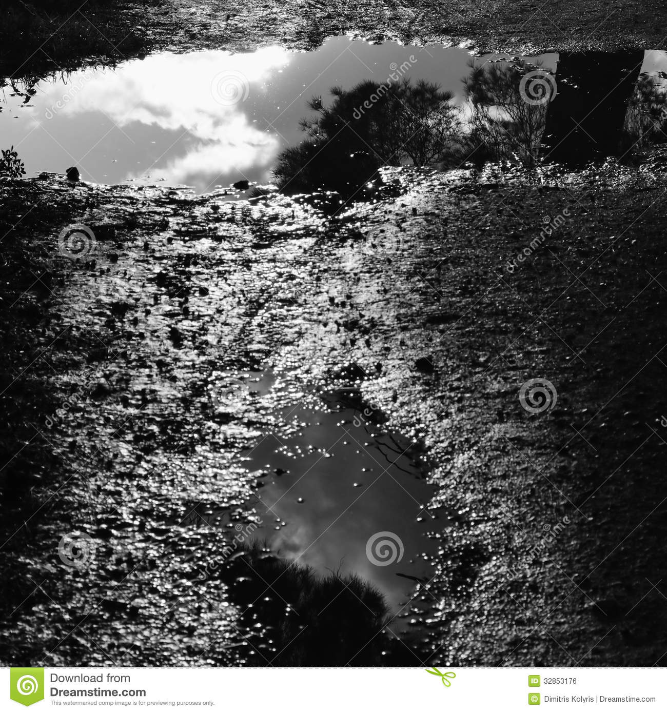 Reflections In Puddles Clipart.