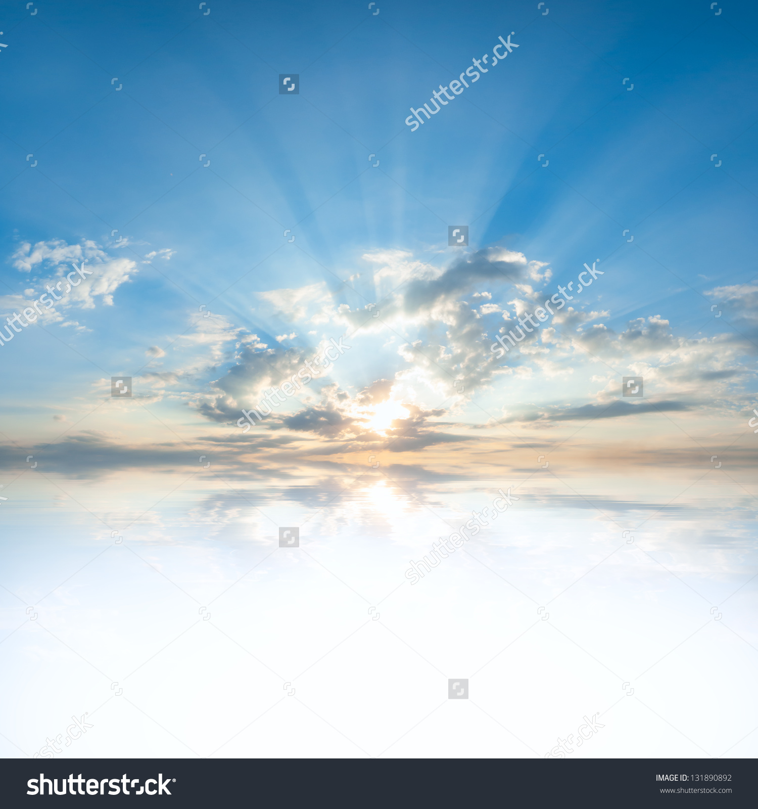 Blue Sky Clouds Sun Reflection Water Stock Photo 131890892.