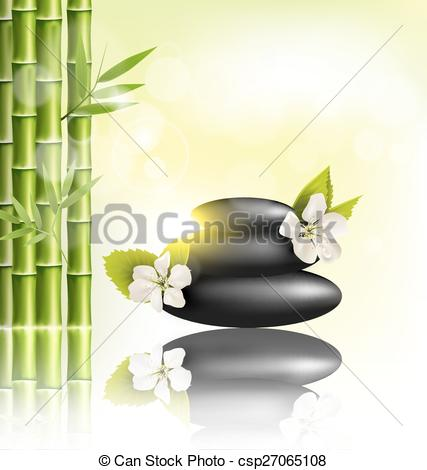 Vector Clipart of Stack of spa stones with cherry white flowers.