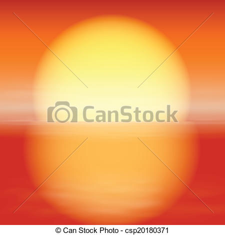 Vectors Illustration of Sea sunset. Sun with reflection on water.