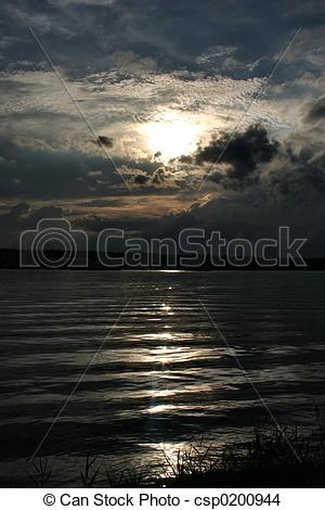 Stock Photo of river reflection of sunlight csp0200944.