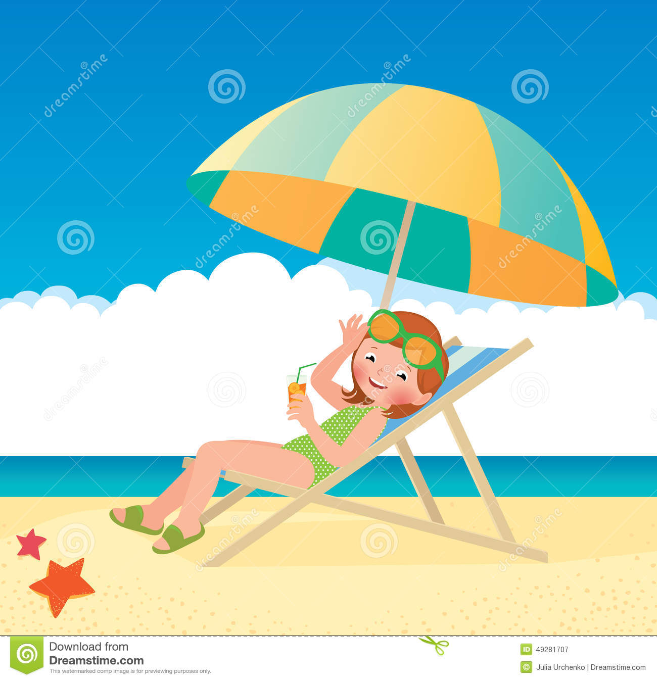 Sun Lounger Vector On White Background. Wooden Chair. Stock Vector.
