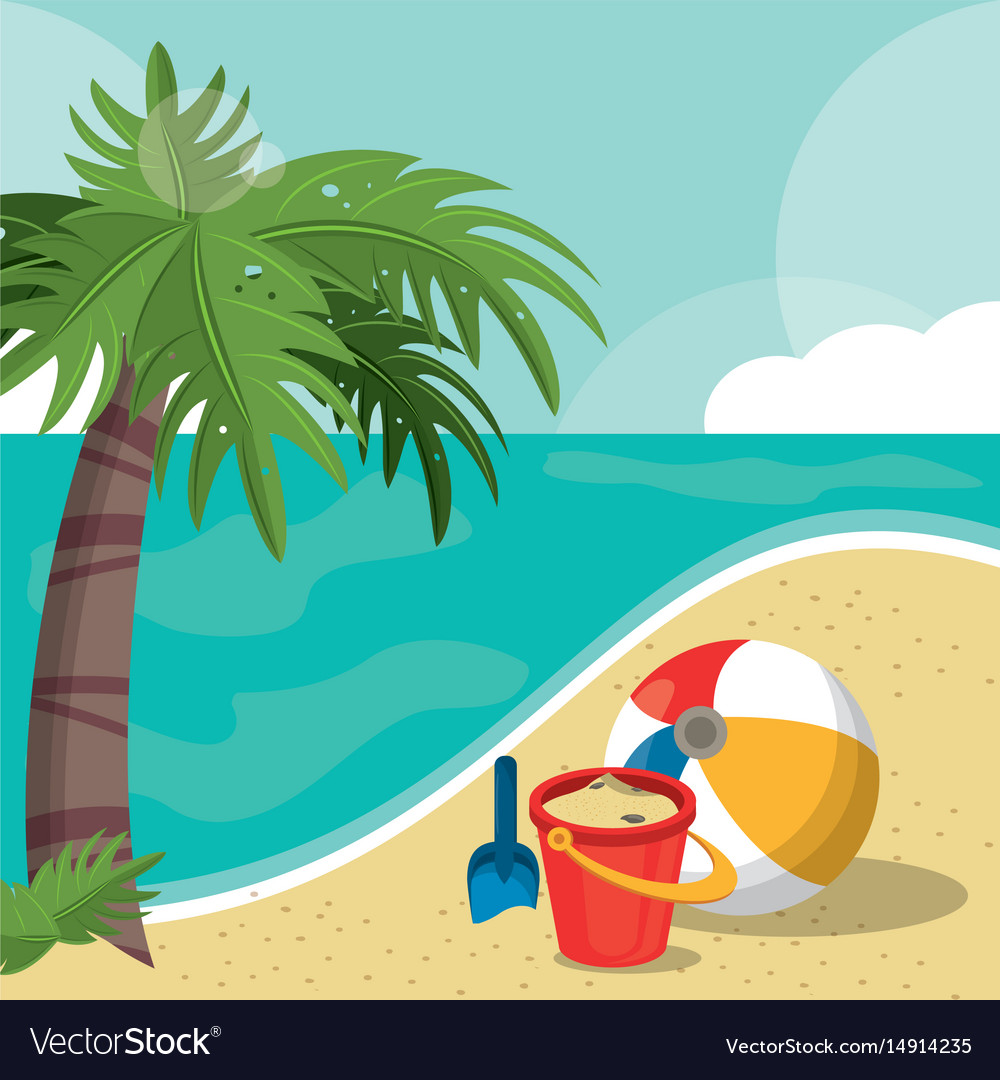 Seaside view on beautiful sunny beach with palm.