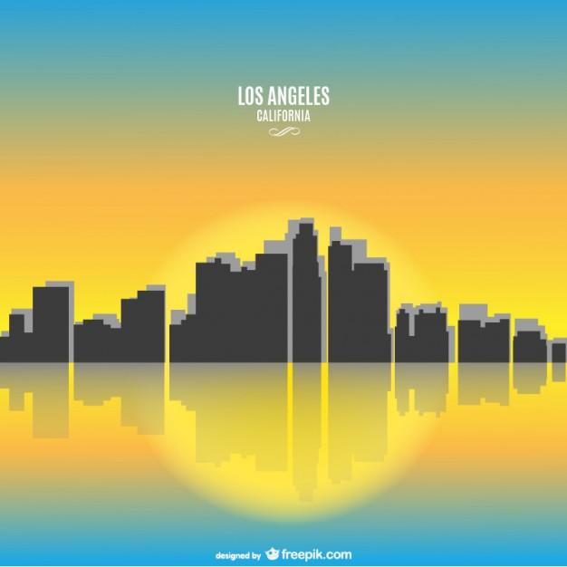 Sunny California Los Angeles cityscape Vector.