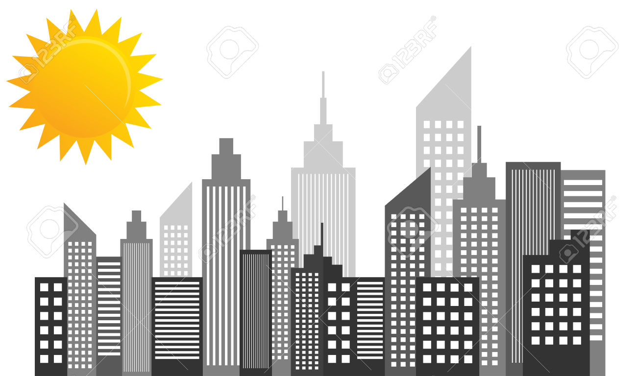 City Skyscrapers Skyline On Sunny Day Royalty Free Cliparts.