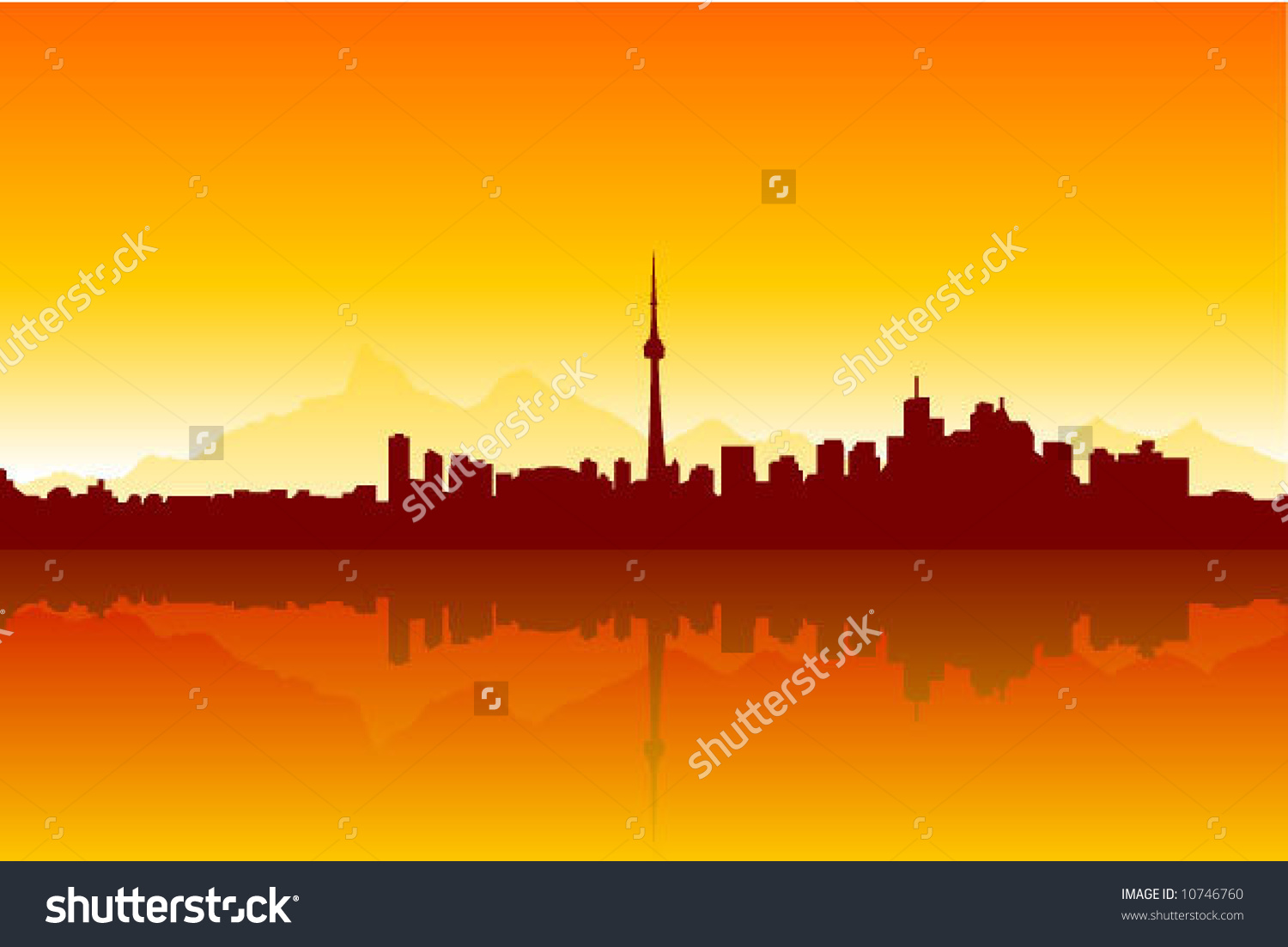 Sunny City Background Silhouette Stock Vector Illustration.