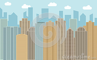 Vector Urban Landscape Illustration. Street View With Cityscape.