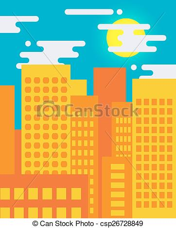 EPS Vector of Flat style cityscape on a sunny day, big city life.