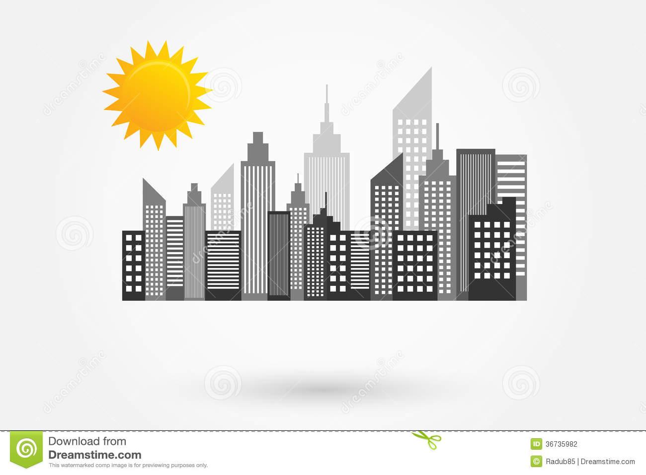 Sunny Skyline New York Vector Royalty Free Stock Photography.