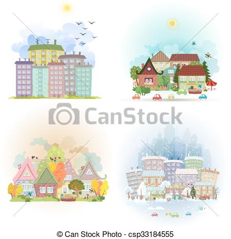 Clipart Vector of collection cute cards with sunny cityscape in.