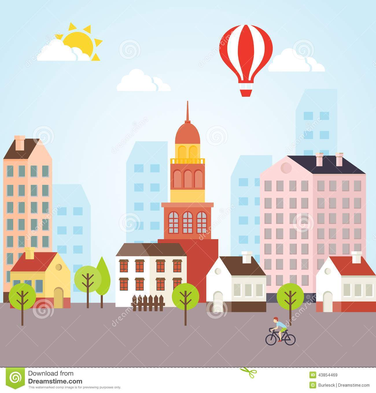 Seamless Vector Sunny Town Landscape Background Stock Vector.