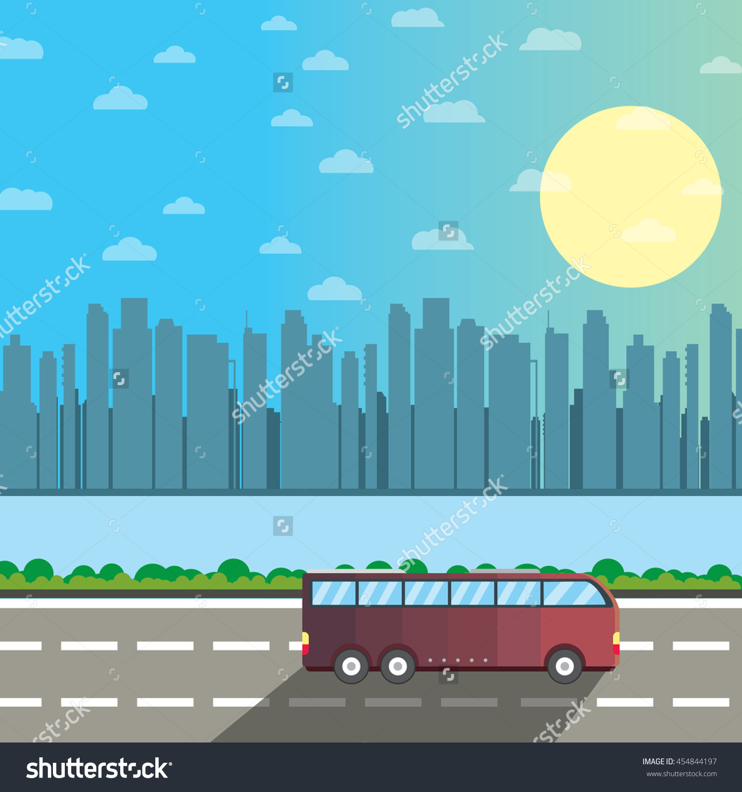 Bus On The Road, Vector Flat Creative Illustration Concept, Sunny.