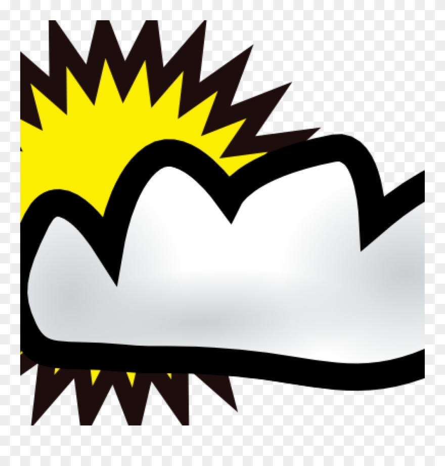 Cloudy Clipart Sunny Partly Weather Clip Art Free Vector.