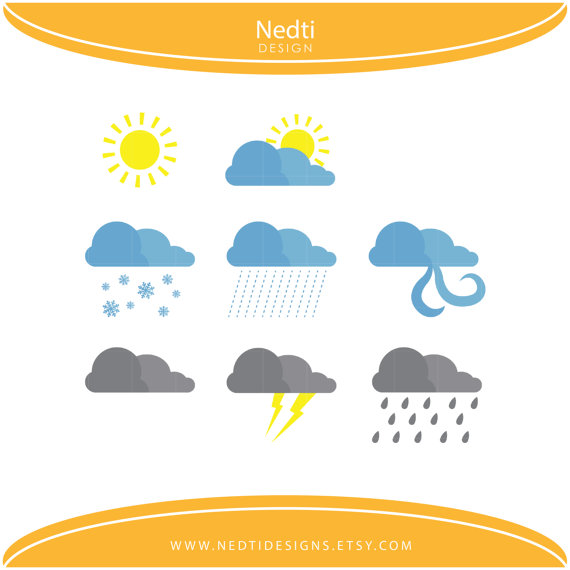 Weather Clipart, Sunny, Cloudy, Rainy, Thunder/ Teacher.